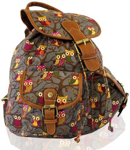 Kukubird POLKA DOT Backpack SPOTTY Rucksack School Bag Gufo grigio