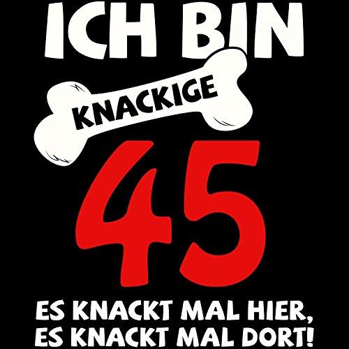 Fashionalarm Herren College Jacke - Ich bin knackige 45 | Varsity Baseball Jacket | Sweatjacke als Geburtstag Geschenk Idee Schwarz / Weiß
