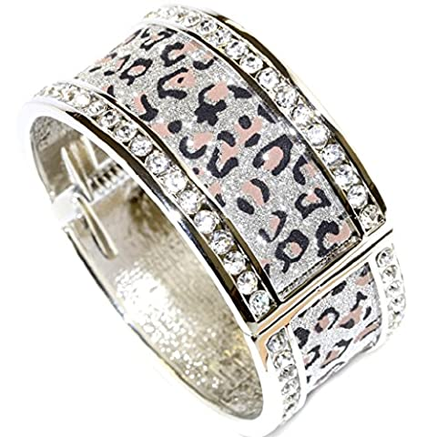 Fashion Glinted Silver Grey Sand Dot Leopard Print Clear Crystals Gems Rimmed Women Silver Tone Stainless Steel Hinge Closure Wide Party Bangle Bracelet