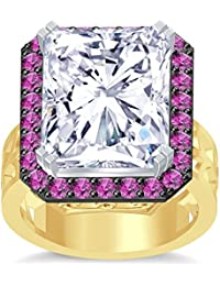 Silvernshine 18K Rediant Cut Pink Sapphire Simuleted Diamond YellowGold PL Hand Craft Wedding Ring