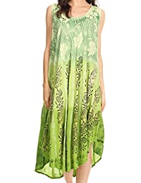 Sakkas Alicia Ombre Vine Print Batik Dress / Cover Up with Sequins and Broderie