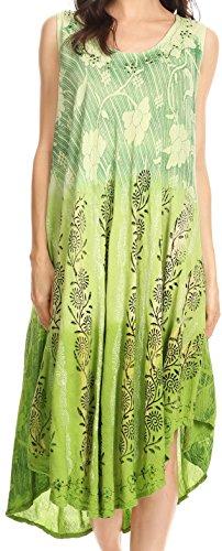 Sakkas 86458 - Alicia Ombre Vine Print Batik Kleid / Cover mit Sequins und Stickerei - Light Green - OS (Sommerkleid Cover)