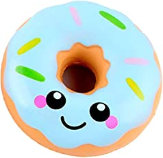 Voberry Slow Rising Toy, Lovely Doughnut Squishy Toy, Cream Scented Simulation Cute Squeeze Toys Gift Doughnut Blue
