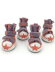 4pcs zapatos perro mascota perro _ transpirable zapatos Zapatos de lona antideslizante oso de peluche,tres,naranja