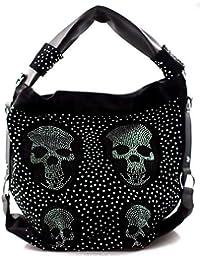 2dc246ebaa26f Damen Handtasche Totenkopf Skull Bone Trapez Gothic Punk Damentasche  Schultertasche Brillenoptik groß Strass Optik