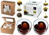"BIO TEEBLUMEN-GESCHENKSET / 2x 250ml Herzglas doppelwandig + 6er-Box bedida BIO-Teeblumen weißer Tee in neutraler naturfarbiger Geschenk-BOX: - ""2250BIO"" by Feelino"
