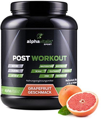 Post Workout Shake mit Maltodextrin, Whey Protein, BCAA, Creatin, L-Glutamin - 1500g - Grapefruit - Muskelaufbau und Regeneration (Sportgetränk Pulver Geschmack)