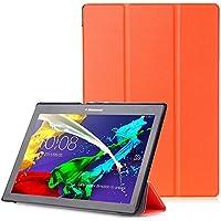 """Lenovo Tab 2 A10 / Tab3 10 Plus / Tab3 10 Business Funda - Carcasa Función Despertador / Reposo Automático para Lenovo Tab 2 A10-30 / A10-70 / Tab3 10 Plus / Tab3 10 Business 10,1"""" Tablet, Naranja"""