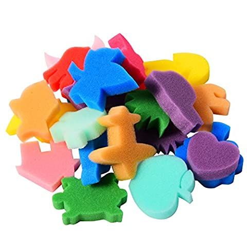 Sumind 24 Pieces Painting Sponge Shapes Painting Stamps Crafting Painting Sponge Kids Sponge, Assorted