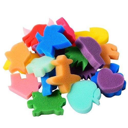 Sumind 24 Stück Malerei Schwamm Formen Malerei Stempel Handwerk Zeichnen Schwamm Kinder Schwamm, Mehrfarbig
