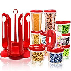 Vorratsdosen, Fun Life 25-teiliges Behälter-Set für Lebensmittel mit drehbarem Rack, robustes Kunststoffkanister mit roten Deckeln, perfekt für Lagerung von Mehl, Zucker, Getreide, BPA frei, dicht, Mikrowelle / Gefrierschrank / Spülmaschinenfest
