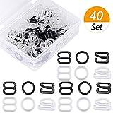 SelfTek - Set di 40 pezzi di lingerie con spalline regolabili e anelli per reggiseno, 8 mm, chiusura a gancio, per costumi da bagno, top e abito con scatola, colore: bianco e nero