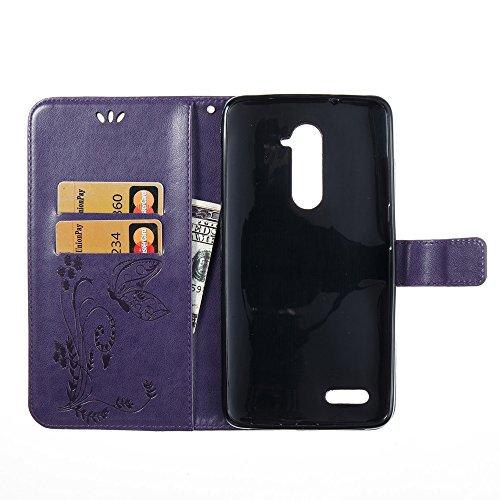 EKINHUI Case Cover Horizontale Folio Flip Stand Muster PU Leder Geldbörse Tasche Tasche mit geprägten Blumen & Lanyard & Card Slots für ZTE Z Max Pro Z981 ( Color : Black ) Purple
