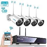4CH 1080p HD Überwachungskamera System mit WIFI NVR / Wlan IP Kamera  Überwachungskamera Set 4Pcs 1080P Überwachungskamera Aussen Wlan,20m IR Nachtsicht, Bewegung Alarm durch SZSINOCAM