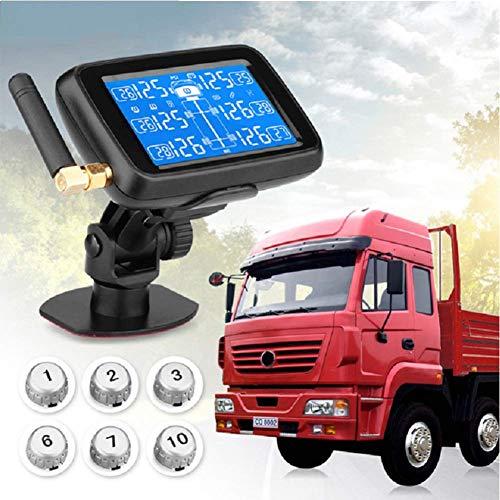 TPMS Pneumatico Pressione Monitoraggio System RV Rimorchio del camion Vero Tempo Tenere sotto controllo Temperatura Aria Perdita Batteria Allarme con addebitabile Grande LCD 6 sensori ,Externalsenso