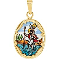 14ct Yellow Gold Porcelain St. Christopher Pendant Necklace 17x13.5mm Jewelry Gifts for Women
