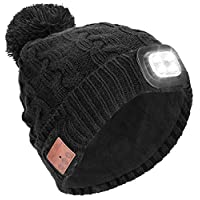 Powcan Wireless Bluetooth 5.0 Music Hat with LED Headlight Hands Free Christmas Winter Beanie Unisex Washable Rechargeable Knitted Musical Cap for Men Women Running Skiing Hiking Camping Cycling