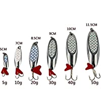 Shaddock pesca® 10pcs metallo Fishing Lure esche cucchiaio Spinner esche con Treble Hooks 5 g-50g, 5g-10PCS