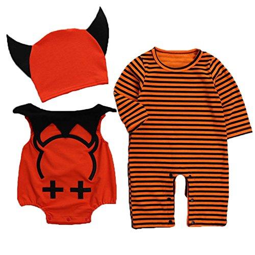 Uleade Kinder Kleinkind Baby Halloween Niedliche kleine Teufel Fantastische Kostüm Neugeborene Spielanzug Bodysuit Outfits (3 Stück) (Kleinkind Jungen Teufel Kostüm)