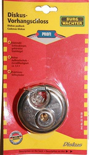 Burg-Wächter, 10mm di spessore, tenaglia, 2chiavi, lucchetto a disco 22Ni 70SB 1Piece Discus 2270SB