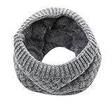 Yvelands warmer Feinstrick Loop Schal mit Flecht Muster und sehr weichem Fleece Innenfutter, Schlauchschal, Unisex (Grau)