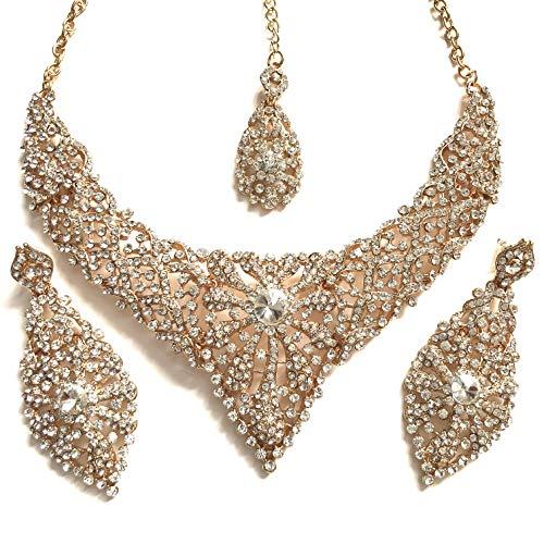 0ec65d37d50c chamak Doré Clair Bollywood Indien inspiré Cristal clouté Simili Costume de  Mode Ensemble de Bijoux avec