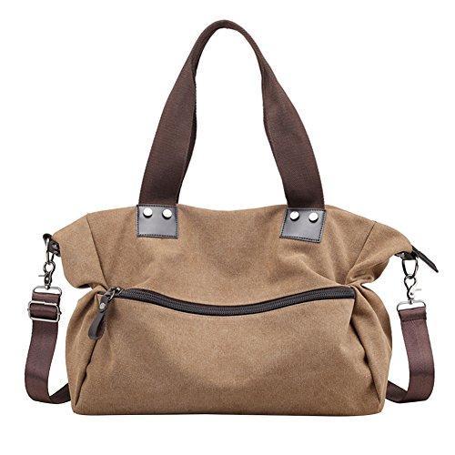 Canvas Tasche Schultertasche Handtasche Umhängetasche Shopper Beuteltasche 42x33x15cm (B x H x T) (Braun) (Billig Canvas Tote Taschen)