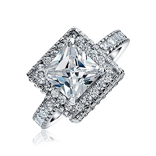 Bling Jewelry Vintage-Stil 2.9Ct Cz Princess Cut Verlobungsring Silber - Cz-verlobungsringe Vintage Stil