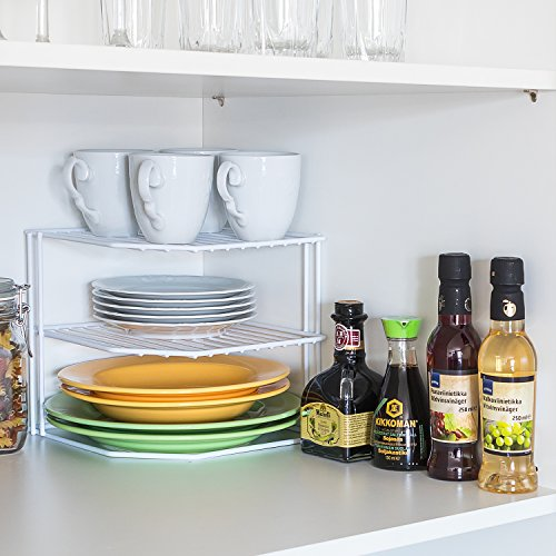 Tatkraft Frame 3 Eck-Schrankeinsatz Eck Regal für Küchenschrank oder Arbeitsfläche Geschirrablage 3-Etagen Weiss L23.5xH20x23cm -
