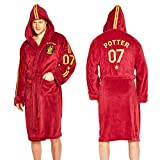 Trading Innovation Harry Potter Quidditch 07 Mens Hooded Bath Robe Dressing Night Gown Fleece Hood