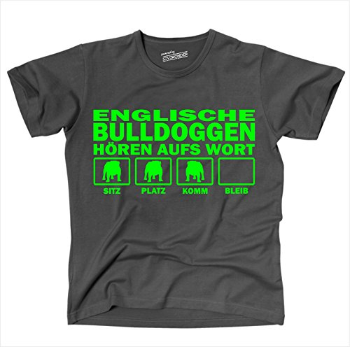 Siviwonder Unisex T-Shirt Englische Bulldogge English Bulldog Hunde Hören Aufs Wort dark grey - neon grün XXL (Grün T-shirt Bulldog)