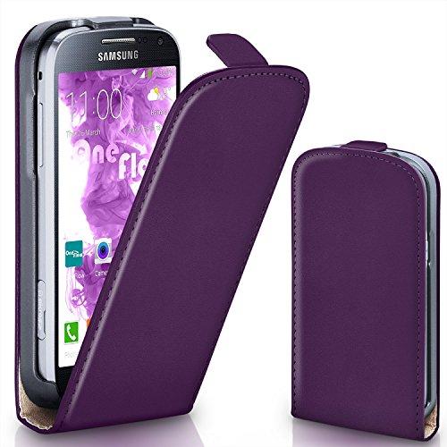 moex Samsung Galaxy S4 Mini | Hülle Lila 360° Klapp-Hülle Etui thin Handytasche Dünn Handyhülle für Samsung Galaxy S4 Mini Case Flip Cover Schutzhülle Kunst-Leder Tasche