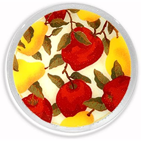 Peggy Karr Handcrafted Art Glass Round Pears and Apples Plate,