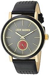 Steve Madden Mens Quartz Gold-Tone Casual Watch, Color Black (Model: SMW030G-BK)