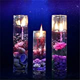 Caxmtu 2Pcs Romantic Jelly Candle Glass Cup Ocean Series Shiny Crystal for Birthday Party Decor