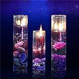 Caxmtu Gel-Kerzen, romantisch, Glas, Meer, glänzend, Kristall, für Geburtstagsparty, Dekoration, 2 Stück
