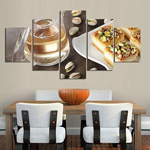 Kunstwerk Poster HD Drucke Dekoration 5 Stücke Kuchen Dessert Wandkunst Modulare Lebensmittel Bilder Restaurant Leinwand Malerei40x60cmx2 40x80cmx2 40x100cmx1 5 Dessert