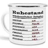 Tassendruck Emaille-Tasse für Rentner Wöchentlicher Zeitplan - Pension/Geschenk zum Ruhestand/Renteneintritt / Edelstahl-Becher/Metall-Tasse/Lustig
