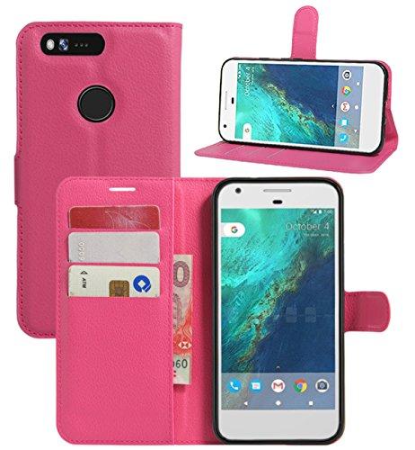 Google Pixel XL Hülle, HualuBro [Standfunktion] [All Around Schutz] Premium PU Leder Leather Wallet Handy Tasche Schutzhülle Case Flip Cover mit Karten Slot für Google Pixel XL Smartphone (Rose)
