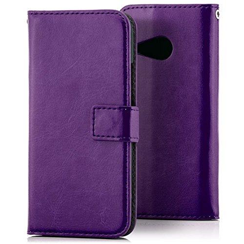 Saxonia Tasche HTC One Mini 2 Hülle Flip Case Schutzhülle Handytasche mit Kartenfach Violett