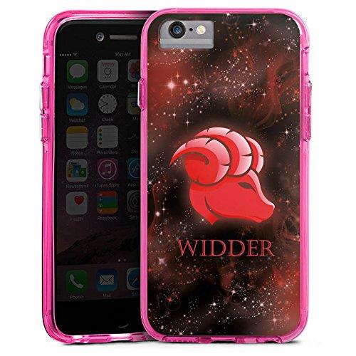 Apple iPhone 6 Bumper Hülle Bumper Case Glitzer Hülle Sternzeichen Widder Astrologie Bumper Case transparent pink