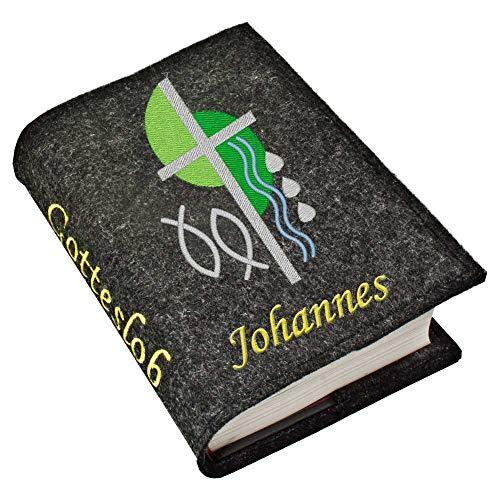 Gotteslob Gotteslobhülle Hülle Kreuz 2 grün Filz mit Namen bestickt Einband Umschlag personalisierte Gesangbuchhülle, Farbe:dunkelgrau meliert