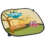 Eulen Auto-Sonnenschutz mit Namen Mila und schönem Eulenbild für Mädchen - Auto-Blendschutz - Sonnenblende - Sichtschutz