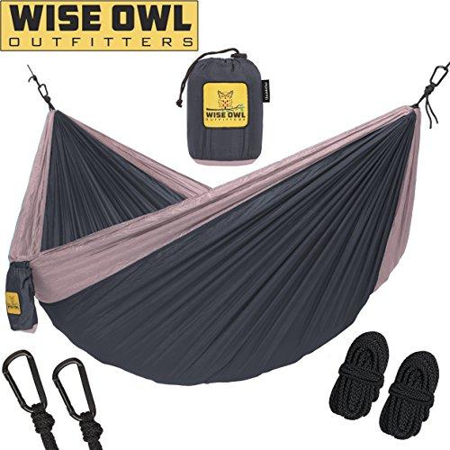 Wise Owl Outfitters Hängematte - Einzel- Und Doppel Camping Hängematten - - Tragbares Leichtes Fallschirm Nylon. DoppeltOwl DO Holzkohle Grau Und Rose (Hobo Boden)
