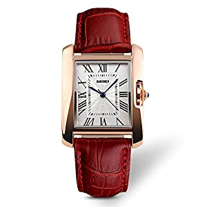 Women Watch, Lady Analog Quartz Casual Business Dress Waterproof Watches with Fashion Leather Band Birthday Gift 30M Roman Numerals Wrist Watch - Red