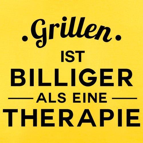 Grillen ist billiger als eine Therapie - Herren T-Shirt - 13 Farben Gelb