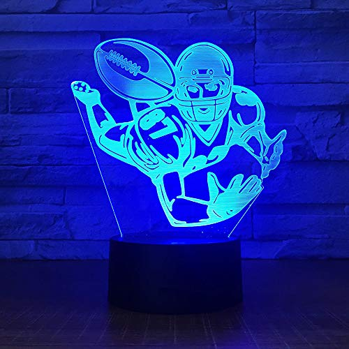 Rugby Ball Player 3D LED Acryl Night Light Office Bar in Schlafzimmer Mood Lighting 7 Colors Change Illusion Boy Birthday Gift