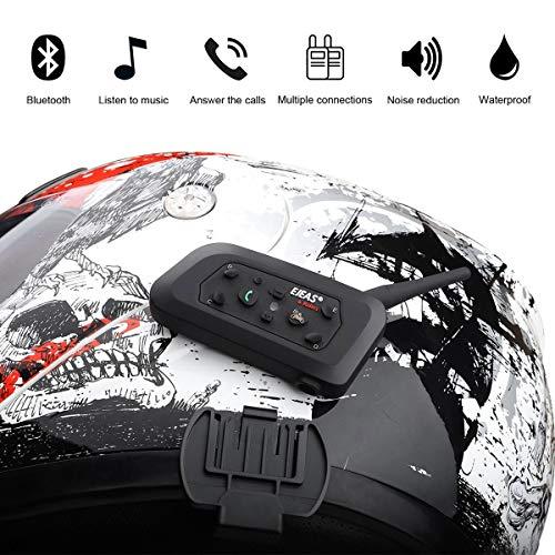 Ejeas V6 Pro 2xAuriculares Intercomunicador Moto Bluetooth para Motocicletas, Gama Comunicación Intercom de 1200m, intercomunicador casco moto, Impermeabilidad, Intercomunicacion entre 6 motociclistas