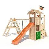 ISIDOR Gilligan Spielturm mit erweitertem Schaukelanbau, Maltafel, XXL Rutsche, Kletterwand auf 1,50m Podesthöhe UVM. (Orange)