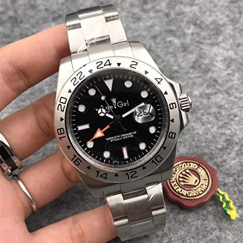 PLKNVT Luxusmarke Neue Männer Automatische Mechanische Uhr Schwarz Weiß Edelstahl Sapphire Diver Limited Sport GMT Uhren 40 Mm 44 MmSchwarz 40 Mm